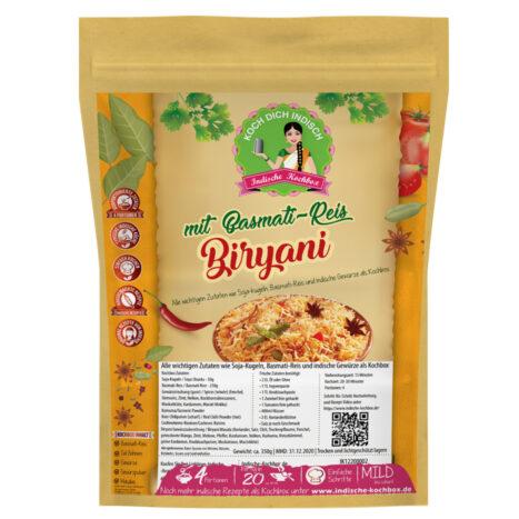 Biryani Reisgericht - Kochbox mit Soja-Kugeln Fleischersatz vegan, Basmati Reis und Gewürze - Alle Zutaten inklusive - Indische Rezepte
