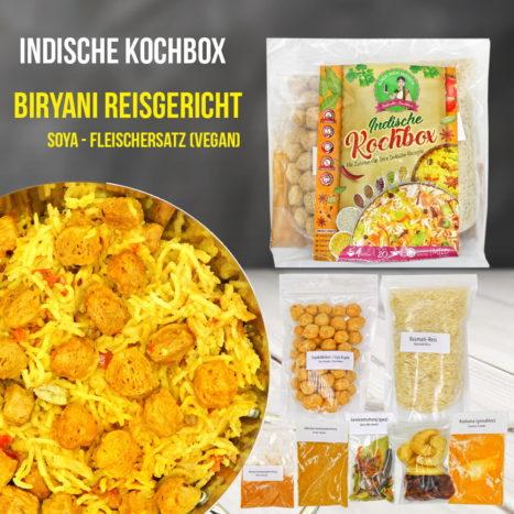 Biryani Reisgericht - Fleischersatz (vegan) - Kochbox - Indische Rezepte